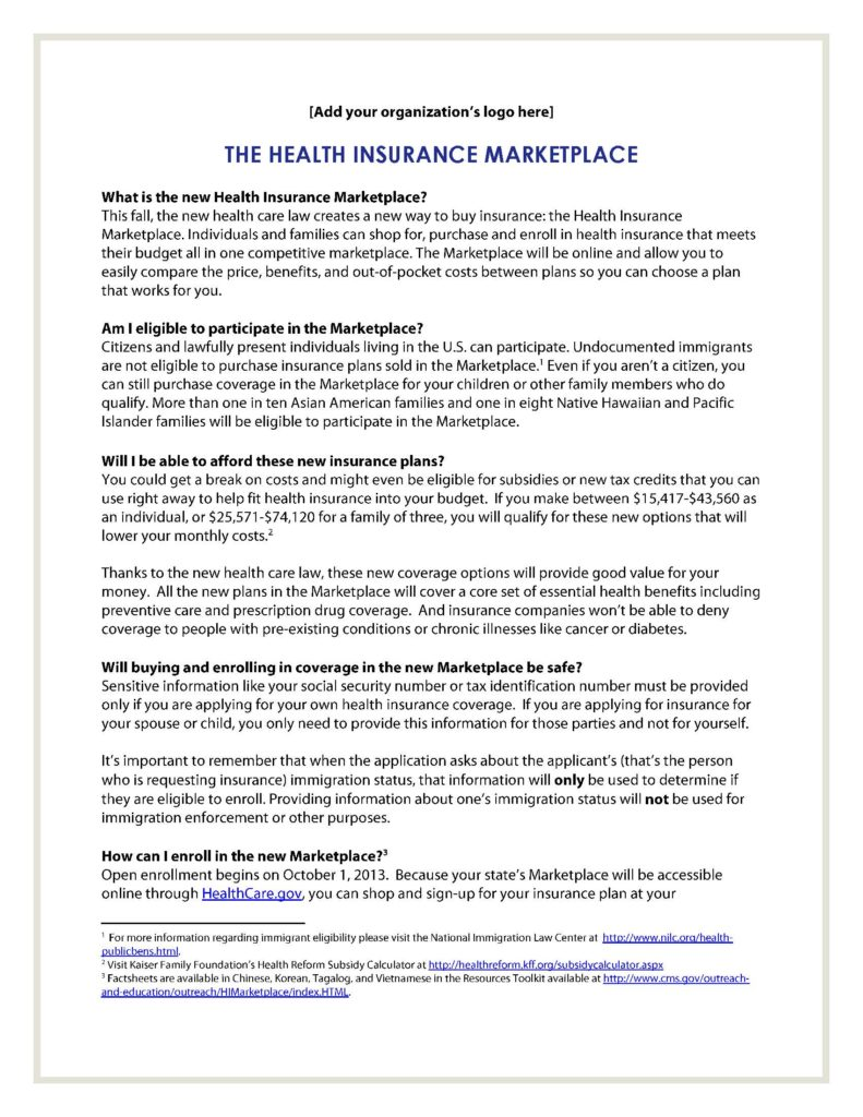 health insurance marketplace one pager template apiahf